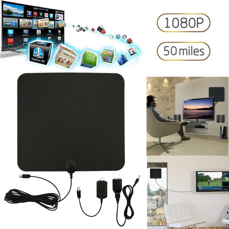 Hdtv Digital Indoor Tv Aerial 50 Miles Range, Paper Thin Amplified Hdtv Antenna