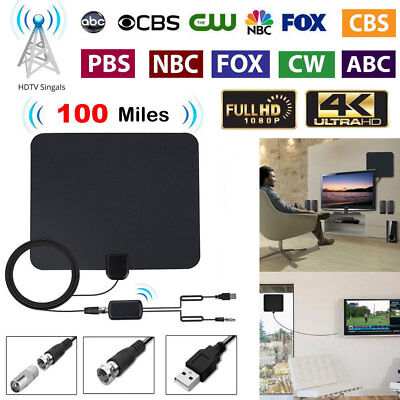 Ultra Thin Flat Indoor HDTV Amplified HD TV Signal Antenna 16FT Coax 100 Mile