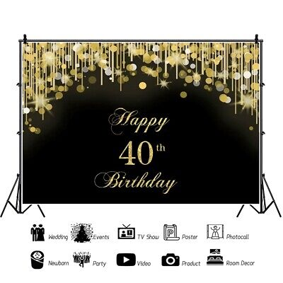 40th Birthday Backdrop (7x5ft Backdrop Happy Birthday 40th Gold Black Backgrounds Prop Photography)