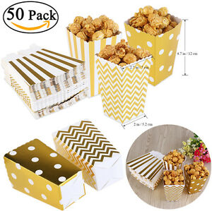 50Pcs Popcorn Paper Box Treat Boxes Bags Candy Container Movie Favour Gold