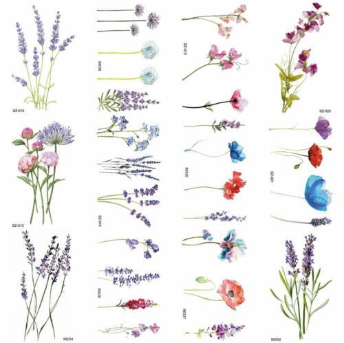 COKTAK+12Pieces%2FLot+3D+Watercolor+Lavender+Flower+Temporary+Tattoos+for+Women