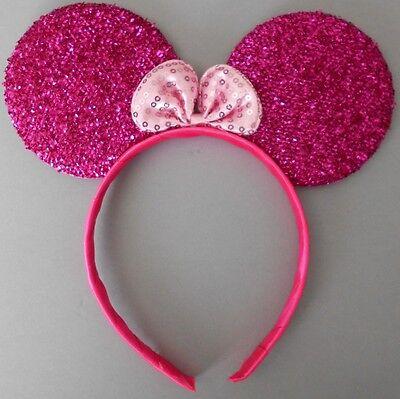 Minnie mouse ears hairband fancy dress party hen night glitter (Cerise Kostüm)