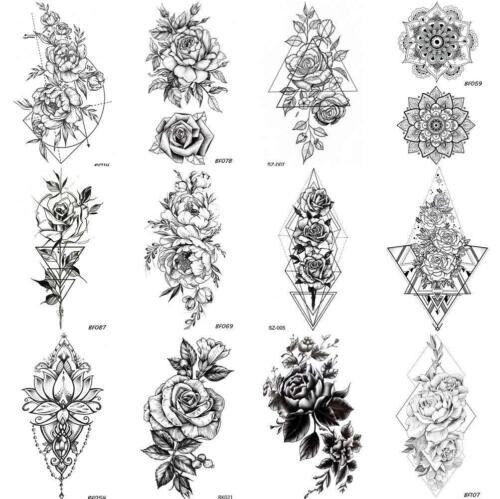 COKTAK+12+Pieces%2FLot+Unique+Black+Flowers+Temporary+Tattoo+Stickers+For+Adults+
