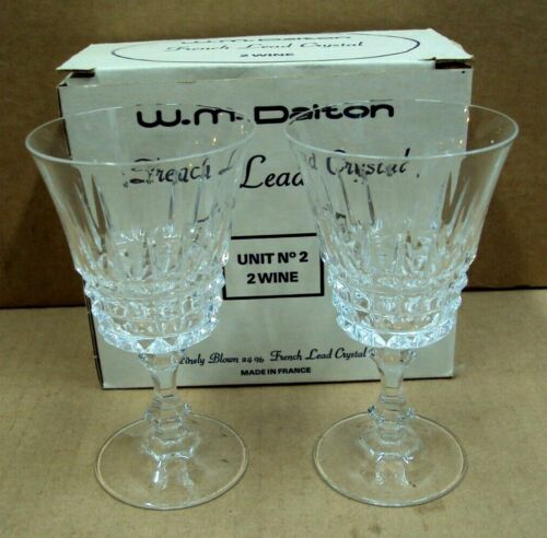 W.M. DALTON French Lead Crystal ~ (2) WINE Glasses Set ~ Made in France