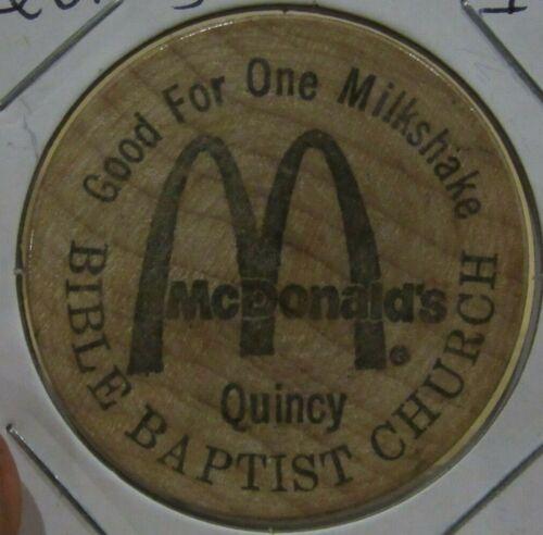 Vintage McDonalds Bible Baptist Church Quincy, IL Wooden Nickel - Token Illinois