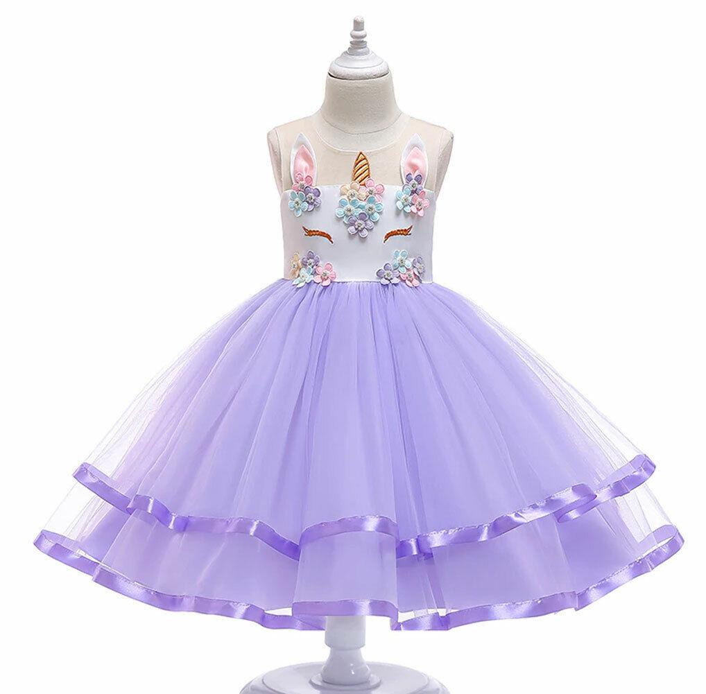 e086af3b20076 USA Child Girl Unicorn Princess Floral Fluffy Gown Tutu Dress ...