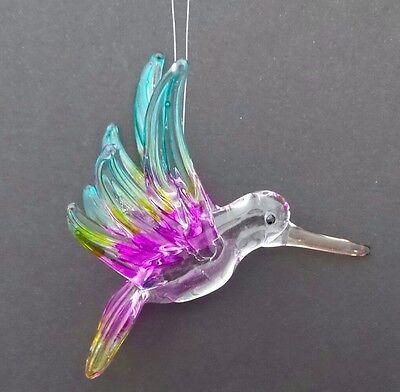 "Hand Blown Glass Hummingbird Ornament 3"" Multi Color Hanging Bird Ornament E"