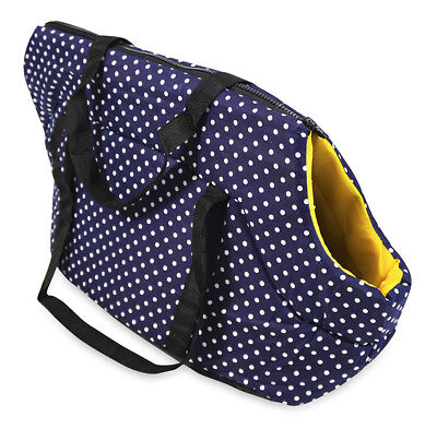Blue Polka Dot Pet Carrier Tote Purse Handbag for Dogs Cats 20 inch Large