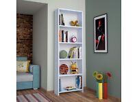 WHITE BOOKCASE BOOKSHELF DISPLAY UNIT WOODEN SHELVES HOME FURNITURE 170 CM