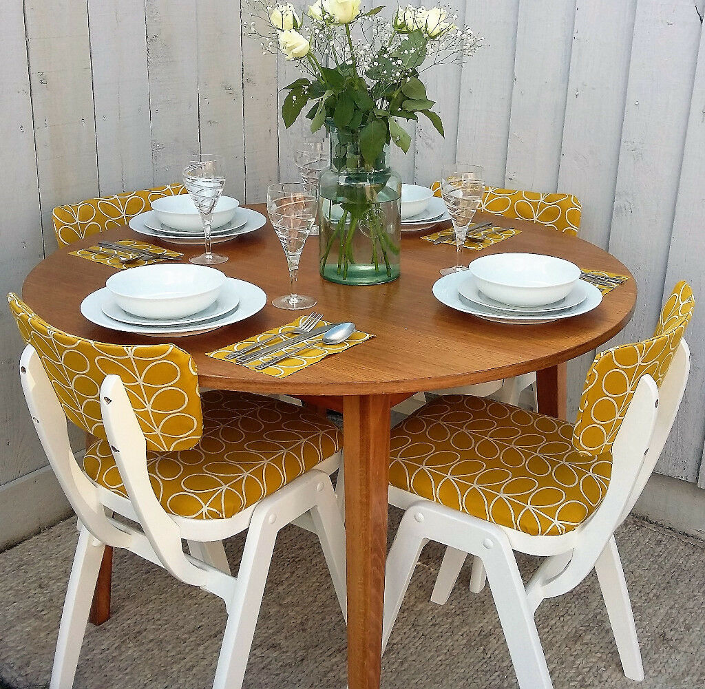 Retro Vintage Orla Kiely Dining Table And Chairs