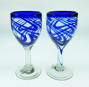 WINE-Glasses-Mexican-Glass-blue-swirl-hand-blown-12-oz