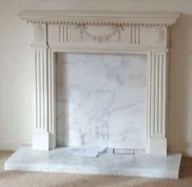 Fire surround with marble white/grey hearth and back plate