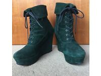 OFFICE Green Wedge Boots