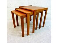 Vintage Mid Century Danish Designer Nest of Three Teak Coffee Tables From 1970 in Great Condition.