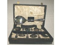 Vintage boxed 6 dessert spoons and large server EPNS (A1-Superior quality)