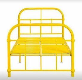 Yellow metal single bed