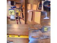 Set Of New Building Tools Trowel, Hammer, Chalk Line, Lock, buckets, Level, floats, Sponge Toolsets