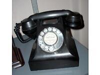 Black bakelite 1950s GPO Telephone, fully working condition