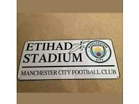Gabrial Jesus signed Man City Etihad stadium sign