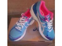 New Asics GT-1000 3 Blue White & Pink Women's Running Shoes with Cushioning Gel - UK Size 5