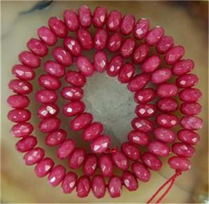 """5x8mm Faceted Brazil Ruby Abacus Gemstone Loose Beads 15"""""""
