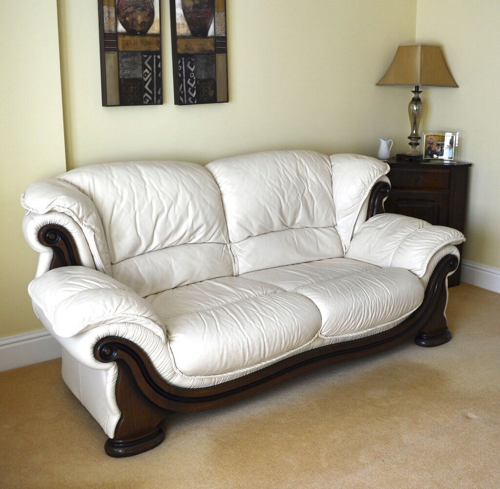 Leather Living Room Chairs 3 Seater Sofa 2 Chairs Cream Leather Living Room Furniture 3