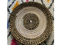 Hand-woven Berber basket/Plateau - Osier and Wool