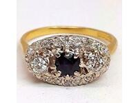 18ct Gold Diamond & Sapphire Vintage - Ring Size P