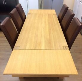 LARGE EXTENDING DINING SET (Wooden Table + 6 Red/Brown Chairs) + FREE LOCAL DELIVERY