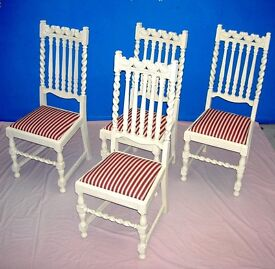 DINING / LIVING / SHABBY CHIC SOLID WOOD BARLEY TWIST CREAM 4 MATCHING DINING CHAIRS STRIPED SEATS