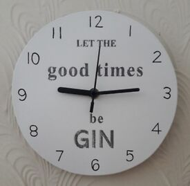 "Hand Cut Hand Painted ""Let The Good Times Be Gin"" Clock"