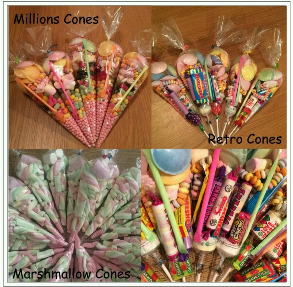 Sweet cones for parties etc.