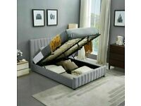 FURNIUTRE ONLINE-PLUSH VELVET DOUBLE SIZE LUCY STORAGE BED FRAME OPT MATTRESS-CHEST OF DRAWERS