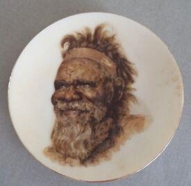 Vintage Brownie Downing Small Plate Aborigine Man