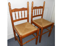 Pair of Pine Dining, Kitchen, Hall, Bedroom Chairs with Rush Seats