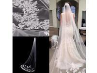 Beautiful White 3 Metre Cathedral Length Wedding Veil