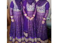 Purple Embellished Indian/Asian/Pakistani Bridesmaid/Wedding/ Occasion Dresses