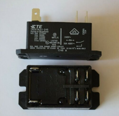 TE Potter & Brumfield No 30A Power Relay, Dpst-No, 240vac, Panel T92 6 Pin NEW