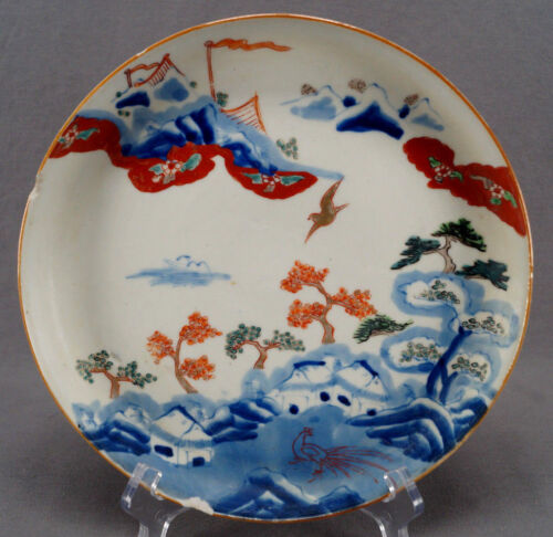 Japanese Imari Pallet Late Edo Period Export Hand Painted Porcelain Plate AS IS