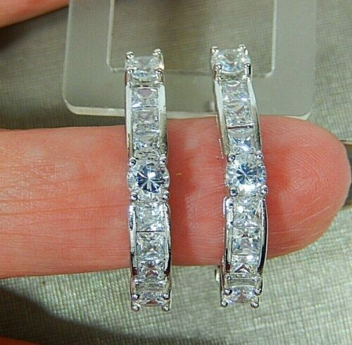 925 STERLING SILVER PRINCESS CUT AND ROUND CZ LARGE 3/4 HOOP PIERCED EARRINGS