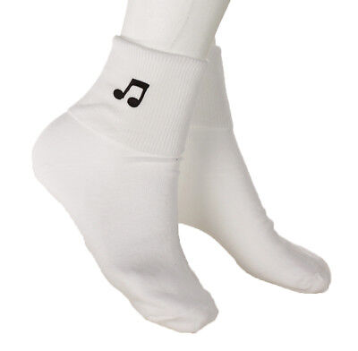 Music Note Bobby Socks - w Embroidered Appliques - Womens Novelty Socks 9-11