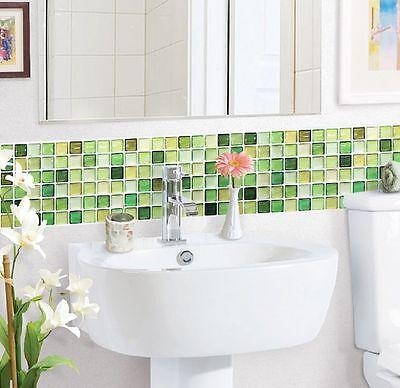 Home Bathroom Kitchen Wall Decor 3D Sticker Wallpaper Art Tile NGreen Backsplash