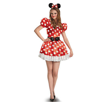 Rot Minnie Klassisch Kleid Erwachsene Maus Disney Mickey Kostüm Halloween