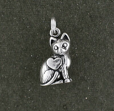 Cat Charm Sterling Silver 3d Pendant Heart Split Ring Attachment