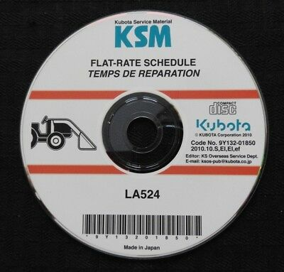 Genuine Kubota La524 La 524 Front Loader Flat Rate Schedule Manual On Cd