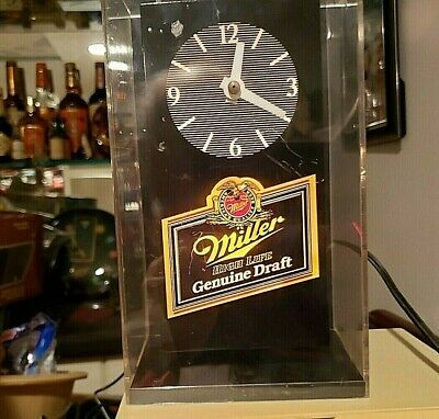 "Vintage MILLER HIGH LIFE BEER 5-1/4"" X 4"" x 9"" back lighted bar clock-Man Cave"