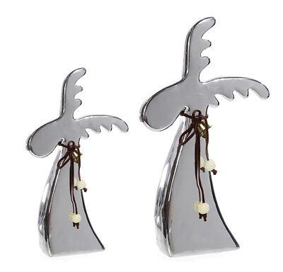 Rentier Elch Keramik silber glänzend Weihnachtsdeko Tischdekoration