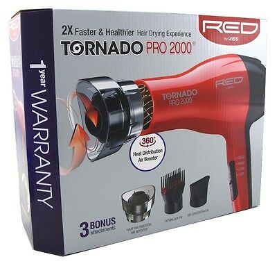 KISS RED DRYER TORNADOPRO 2000 1200 WATT WITH 3 ATTACHMENTS