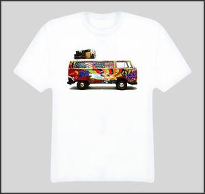 vw hippie van peace love bus t shirt ebay. Black Bedroom Furniture Sets. Home Design Ideas