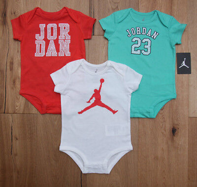 Orange Infant 3 Piece (Air Jordan Baby Girl 3 Piece Bodysuit Set ~ Mint Green, Orange & White ~)